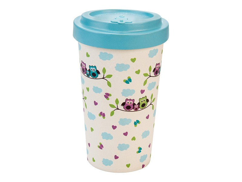 Bamboo cup / mug en bambou Chouettes turquoises
