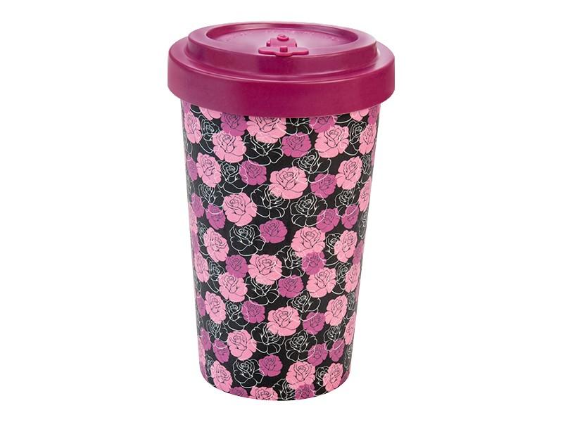 Bamboo cup / mug en bambou Roses purple