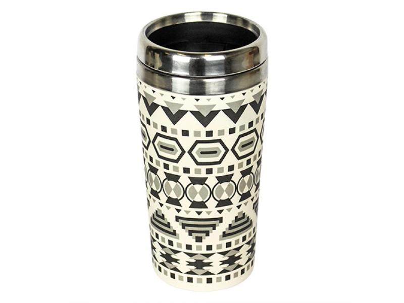 Traveler Bamboo cup / mug de voyage en bambou Aztèque noir