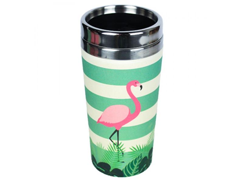 Traveler Bamboo cup / mug de voyage en bambou Flamant rose
