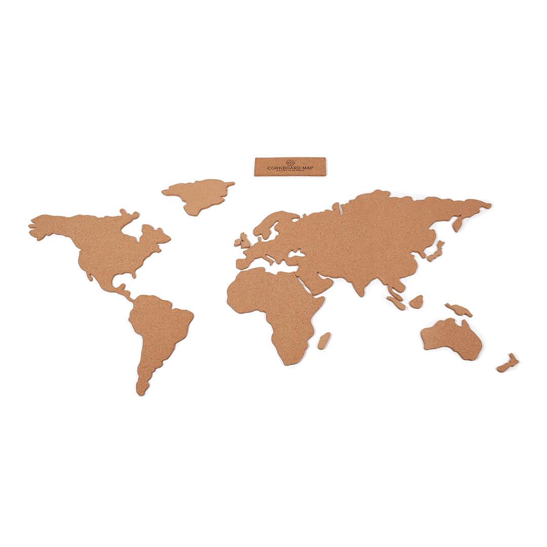 Carte du monde en liège autocollant avec épingles
