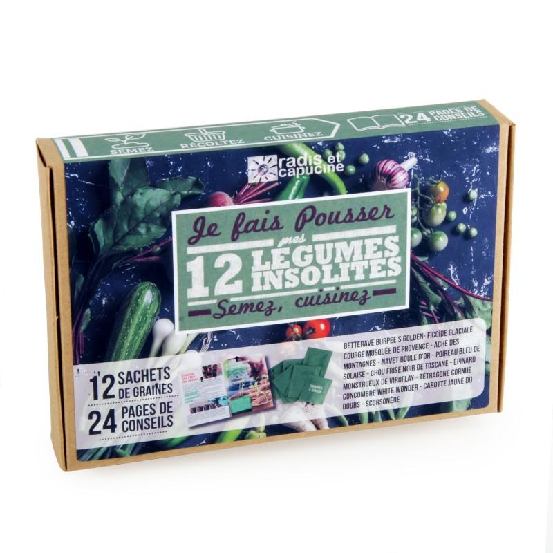 Coffret de 12 sachets de graines de légumes insolites et anciens