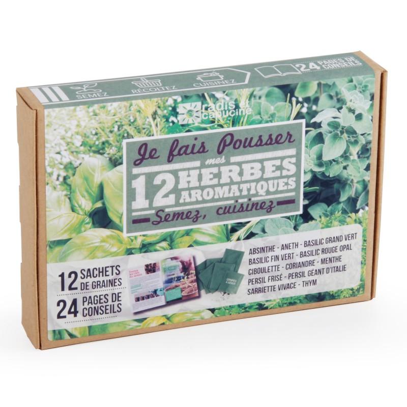 Coffret de 12 sachets de graines pour un jardin d'aromates bio