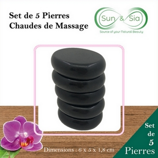 Set de 5 pierres chaudes de massage