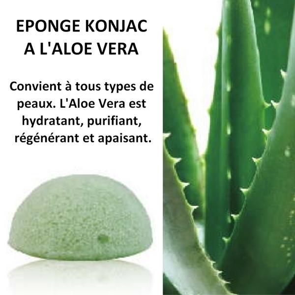 Eponge Konjac 100% naturelle à l'aloé véra