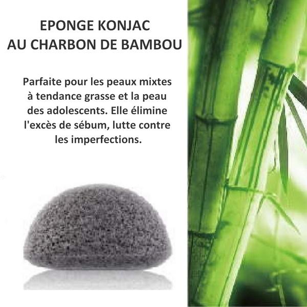 Eponge Konjac 100% naturelle au charbon de bambou