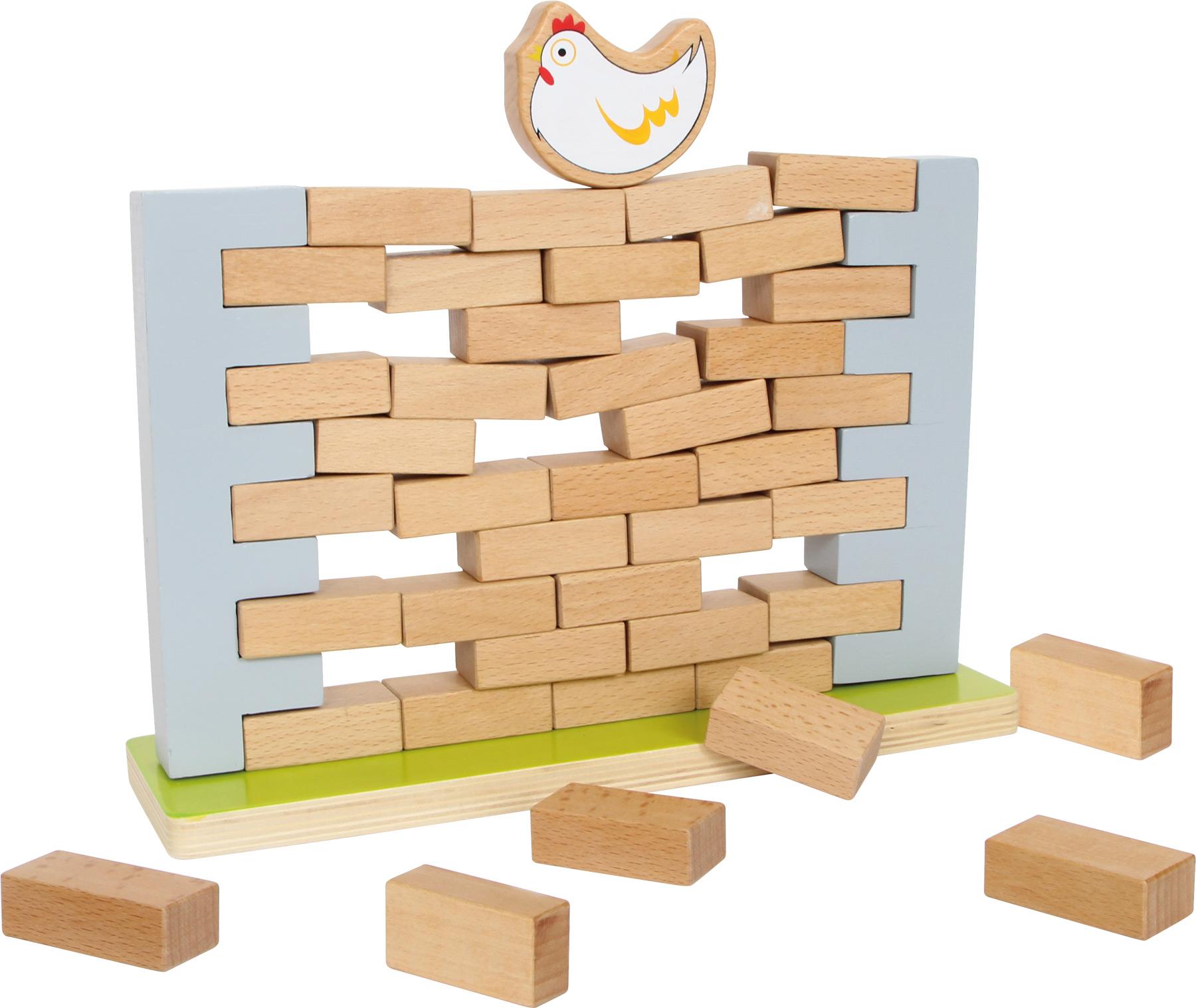 Une poule sur un mur bancal : jeu d'adresse en bois