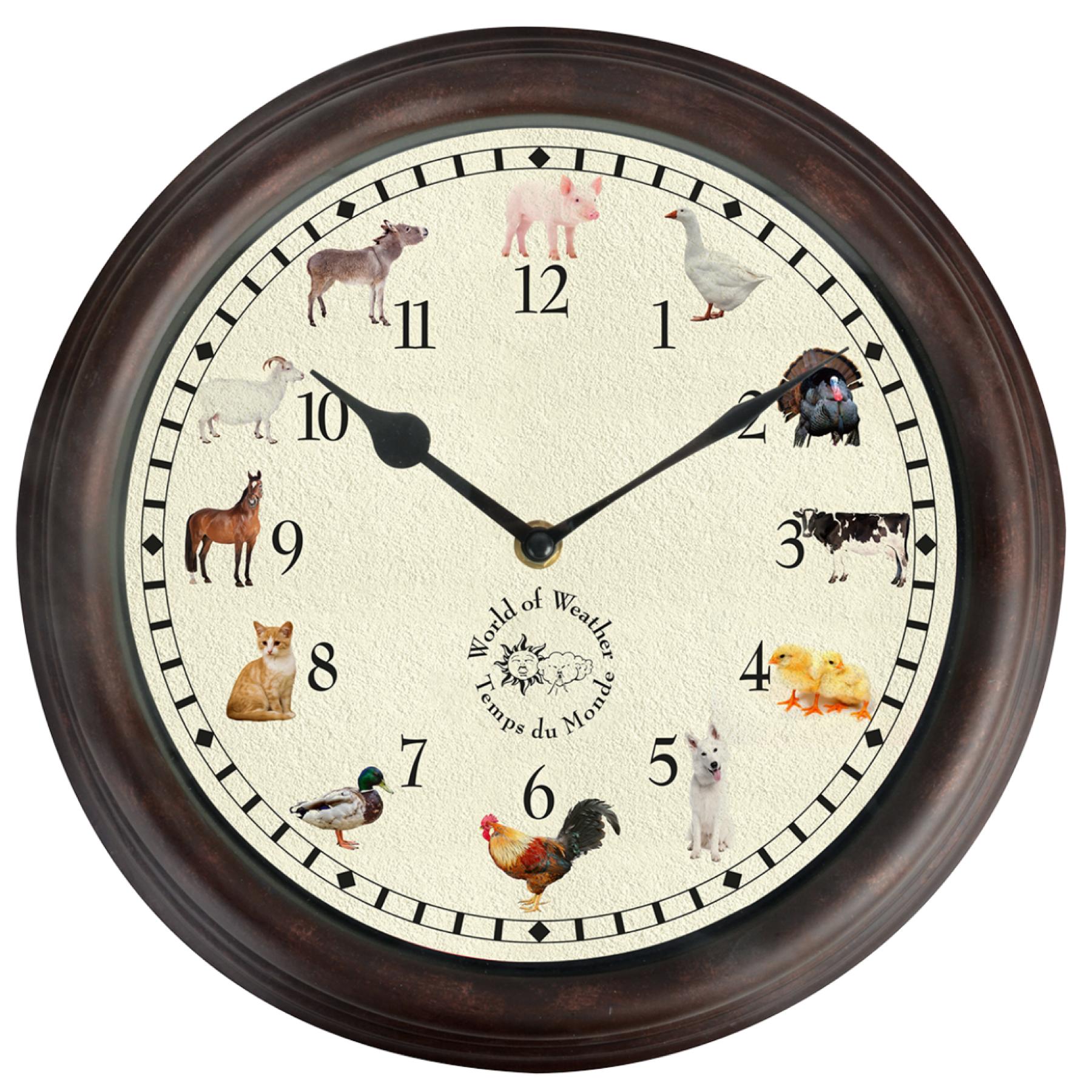 Horloge murale les animaux de la ferme (12 cris ou chants)