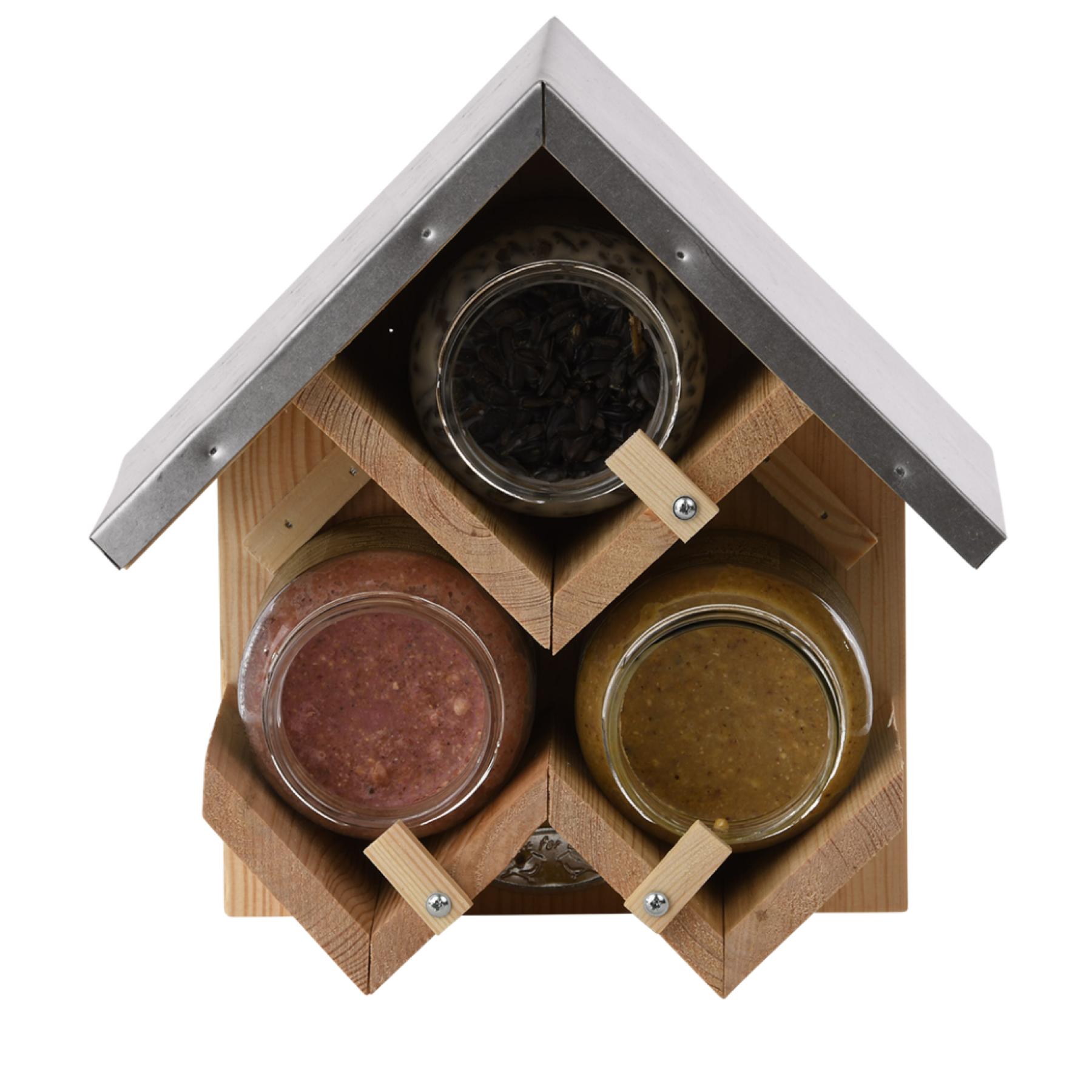 Abri mangeoire oiseaux pour trois pots de beurre de cacahuète