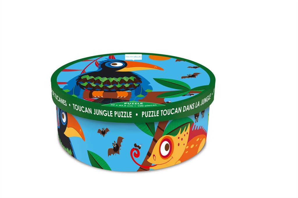 Puzzle 100 pièces : toucan et caméléon dans la jungle