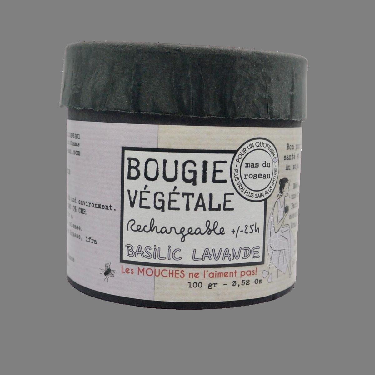 Bougie parfumée naturelle et végétale / Senteur basilic lavande