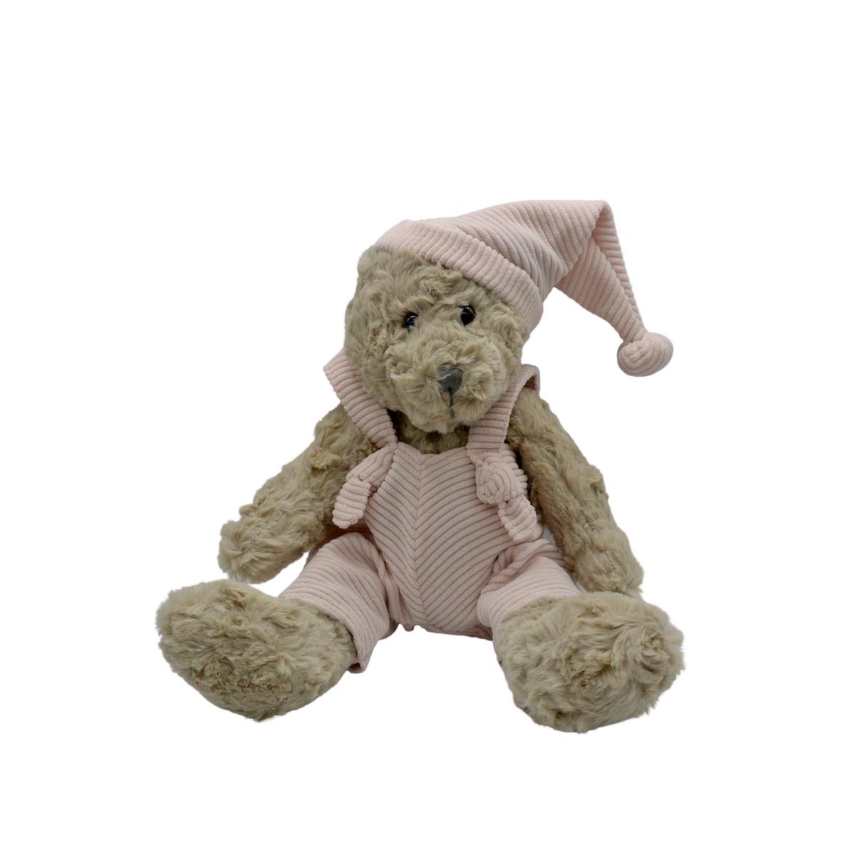 Ours en peluche avec salopette rose : Victor