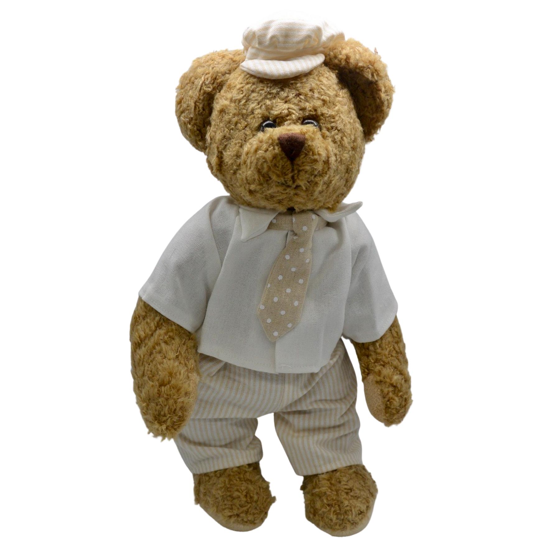Ours en peluche avec cravate et casquette : Marius