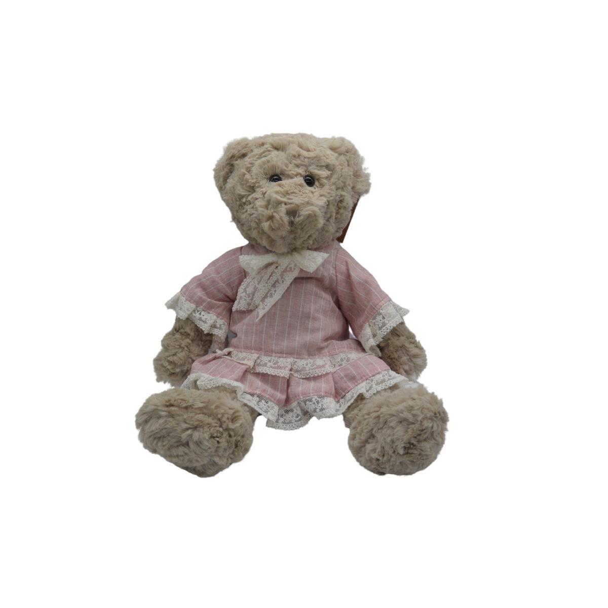 Ourse en peluche avec robe rose à dentelle : Jeanne