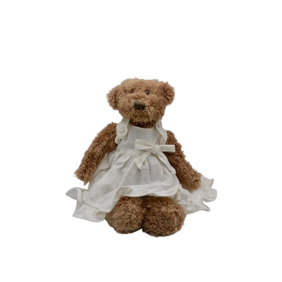 Ourse en peluche avec robe écrue en lin : Suzanne