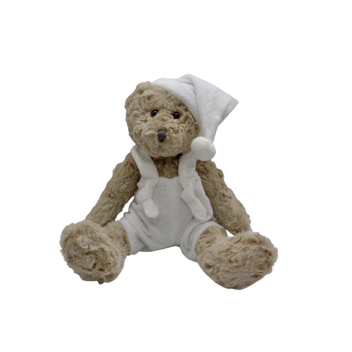 Ours en peluche avec salopette et bonnet blanc : Jules