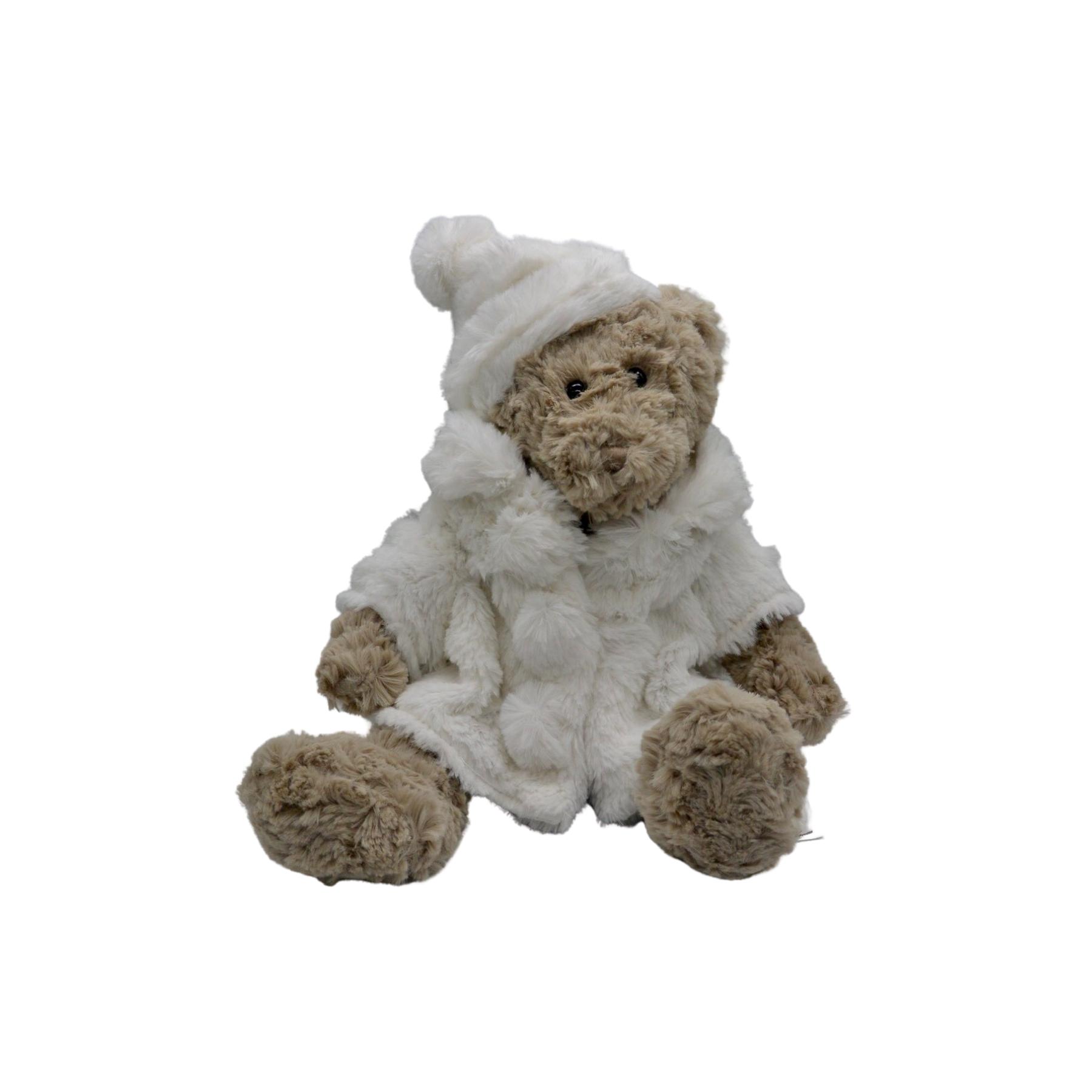Ourse en peluche avec manteau d'hiver et bonnet blanc : Blanche