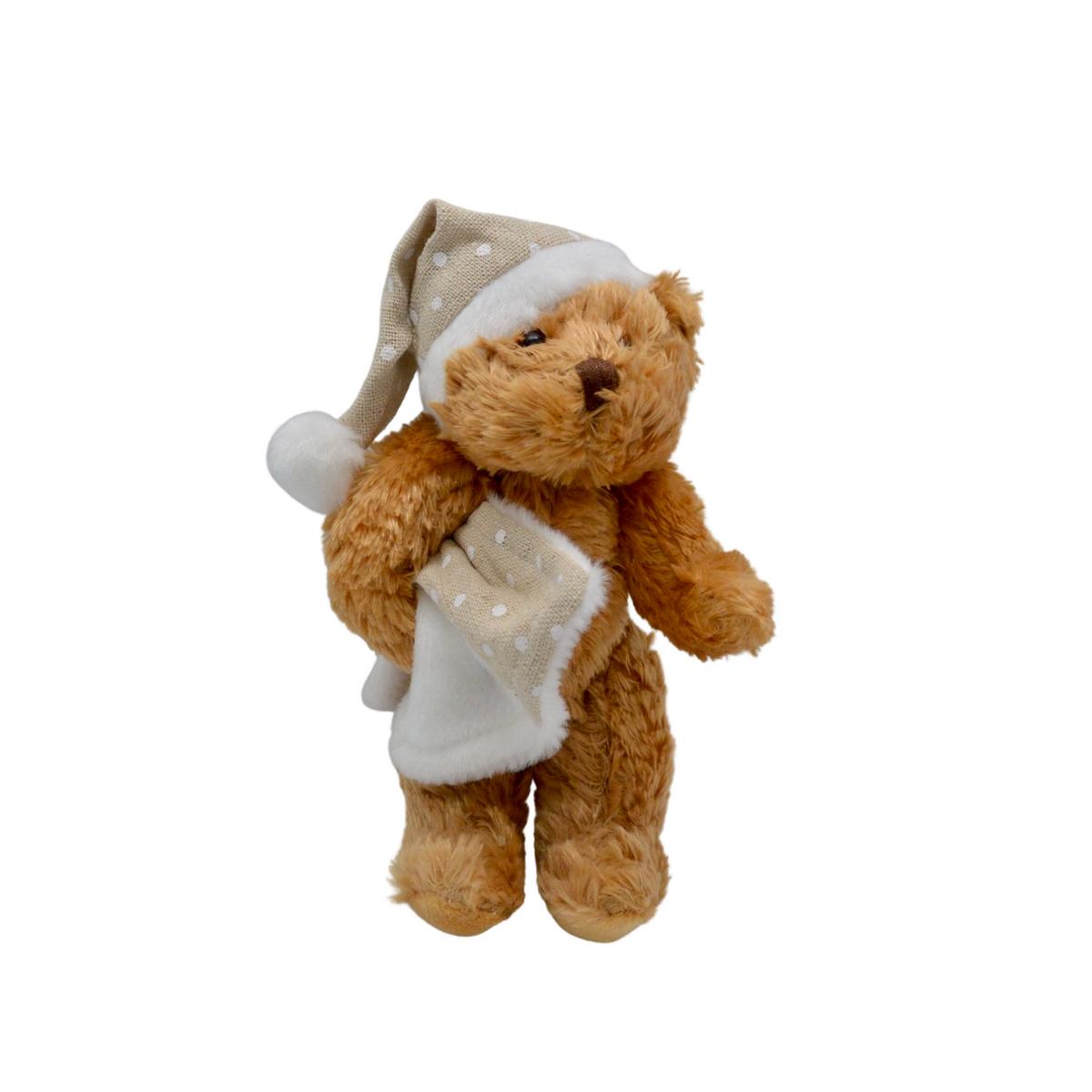 Mini ourson en peluche avec couverture et bonnet à pois : Sylvain