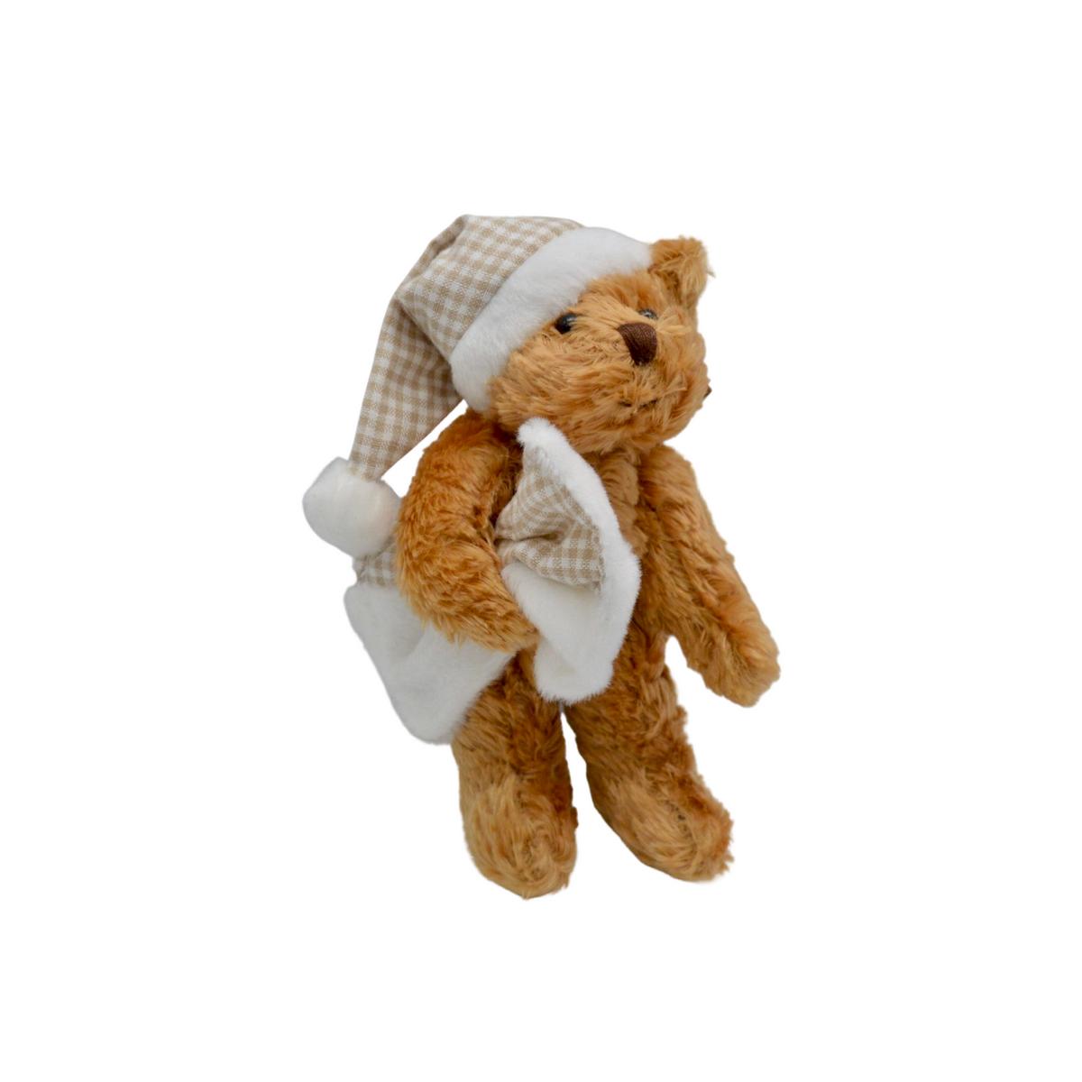 Mini ourson en peluche avec couverture et bonnet à carreaux : Félicien
