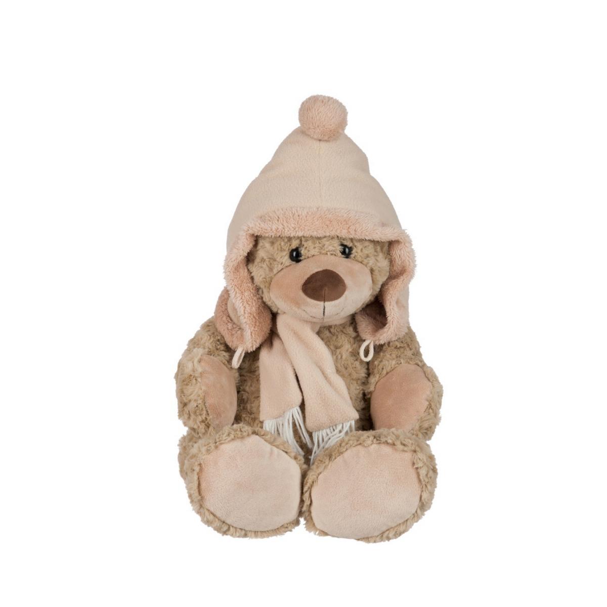 Grand ours en peluche avec bonnet et écharpe : Basile