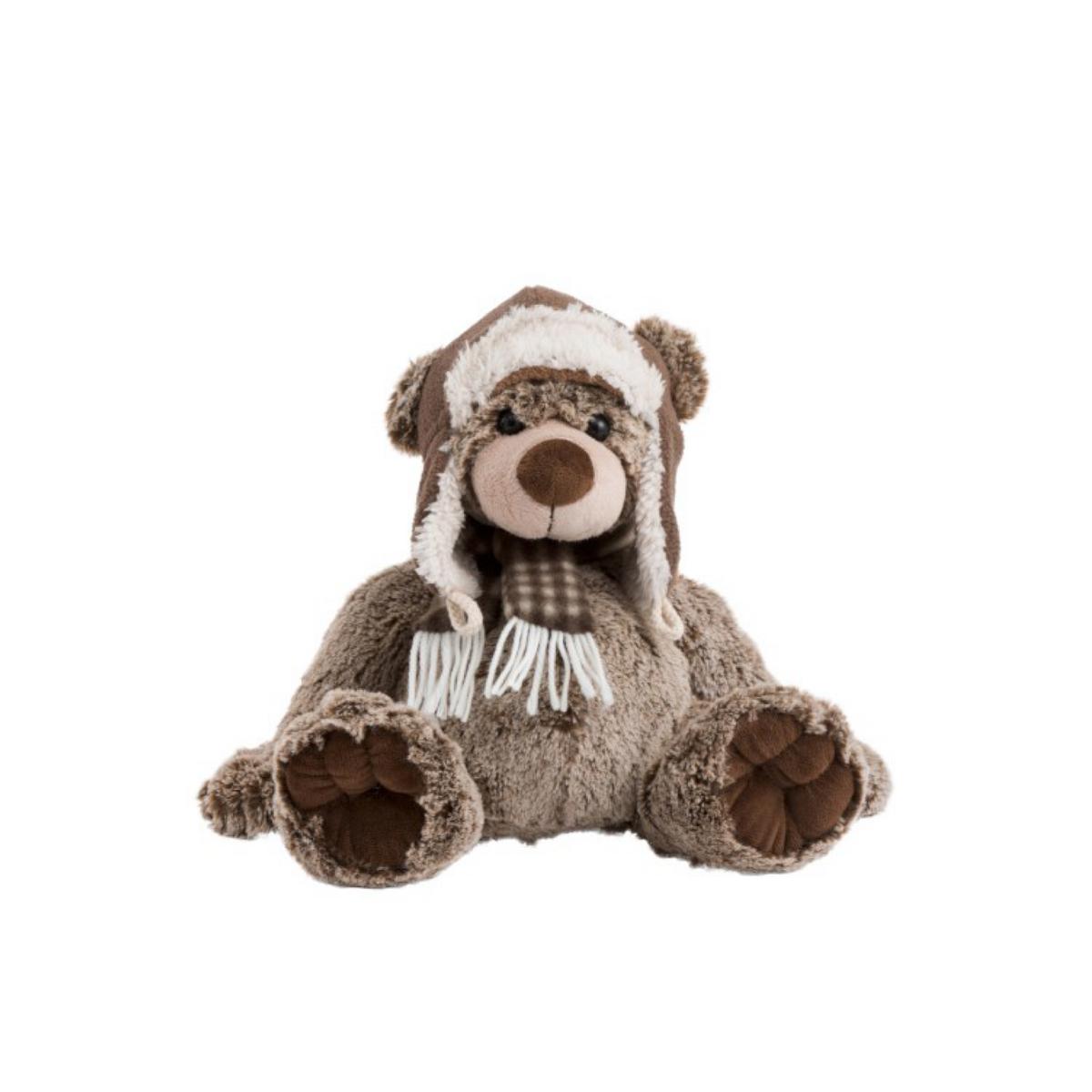 Ours en peluche marron châtaigne avec écharpe et bonnet : Paul