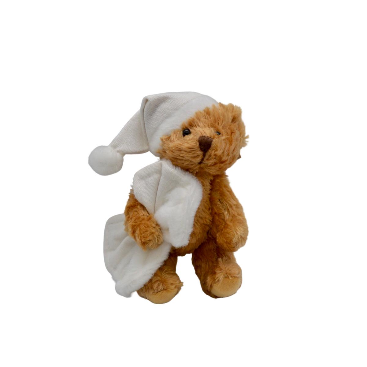Mini ourson en peluche avec couverture et bonnet blancs unis : Antonin