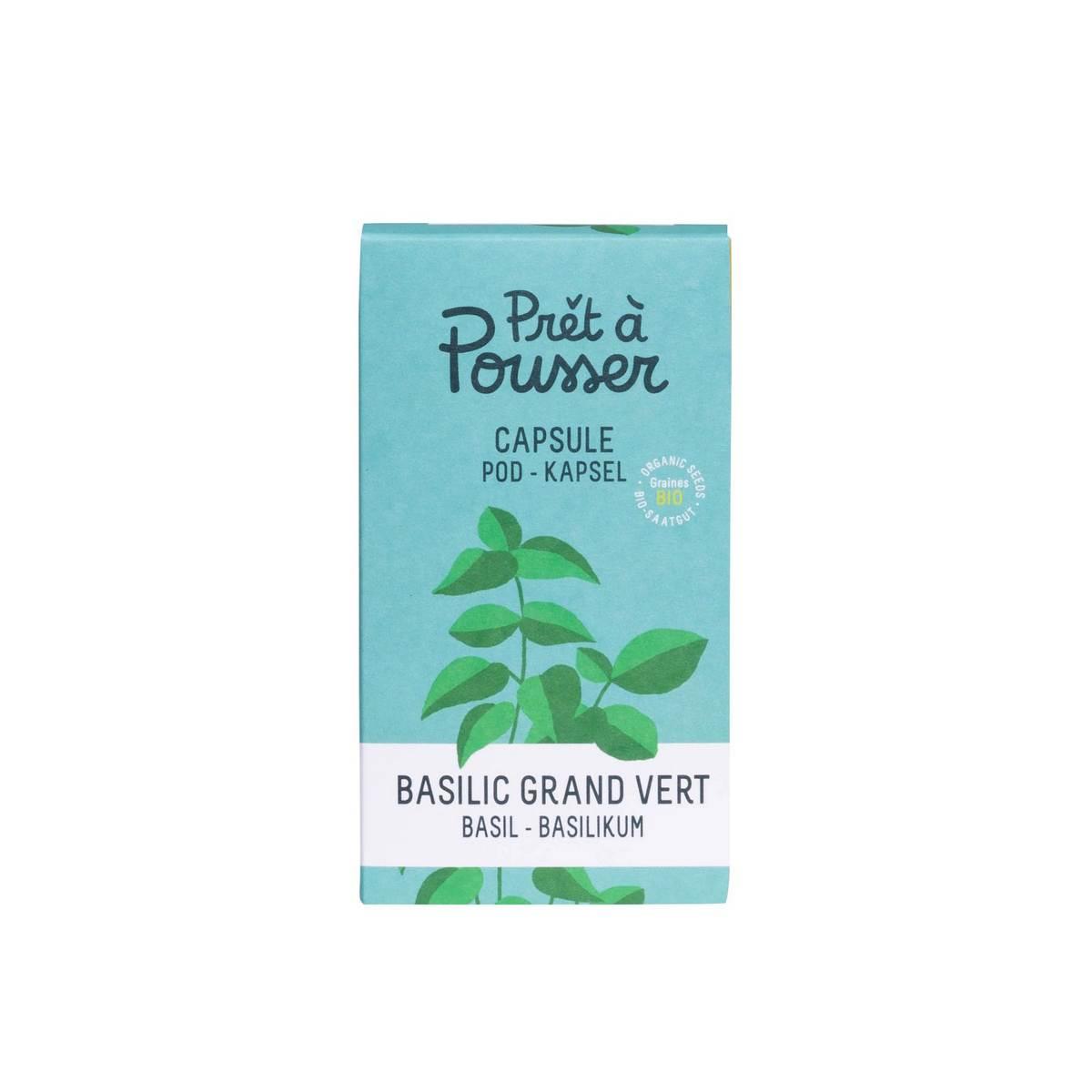 Graines bio basilic grand vert / Capsule pour potager d'intérieur Lilo