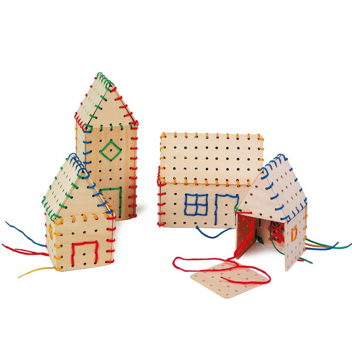 Jeu de construction de maisons en bois avec des fils