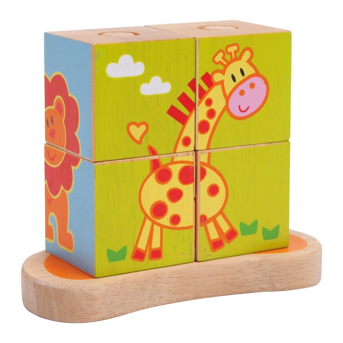 Puzzle cubes à encastrer : les animaux