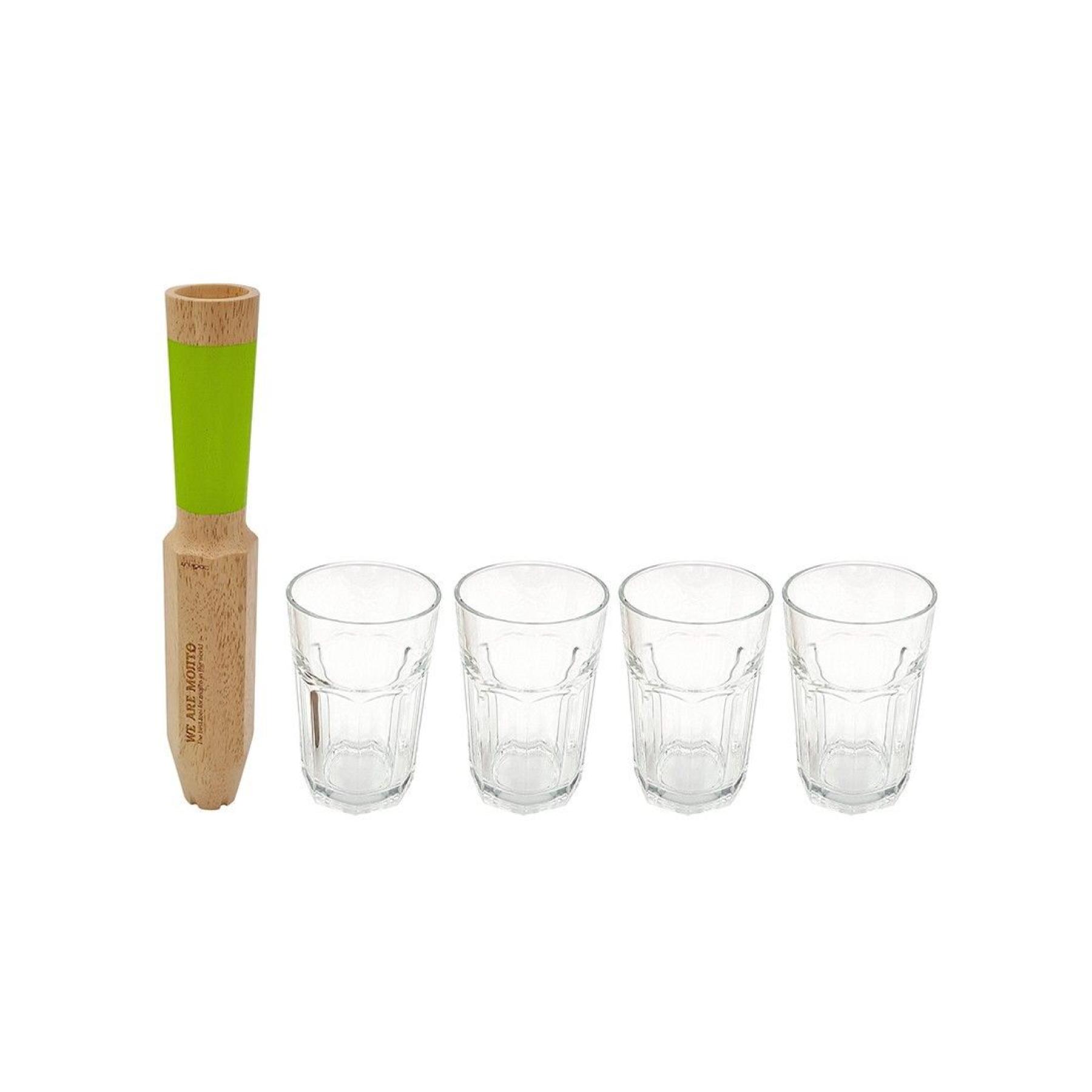 Pilon-doseur à mojito et 4 verres :  We are Mojitos