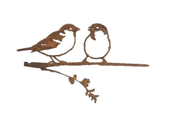 Oiseaux en métal Metalbird : le couple de moineaux