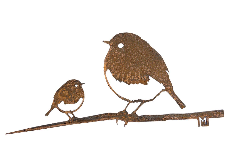 Oiseaux en métal Metalbird : le duo de rouges-gorges