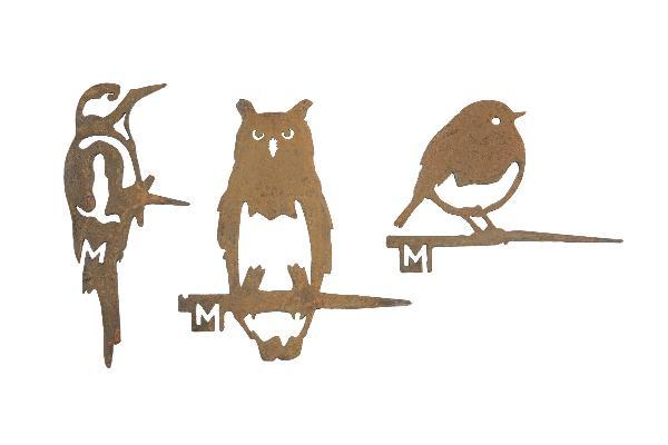 Oiseaux en métal Metalbird : le trio pic hibou rouge-gorge