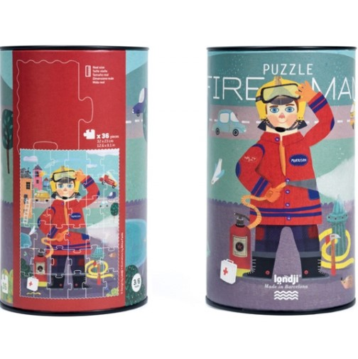 Puzzle 3/6 ans  Le pompier / Fireman