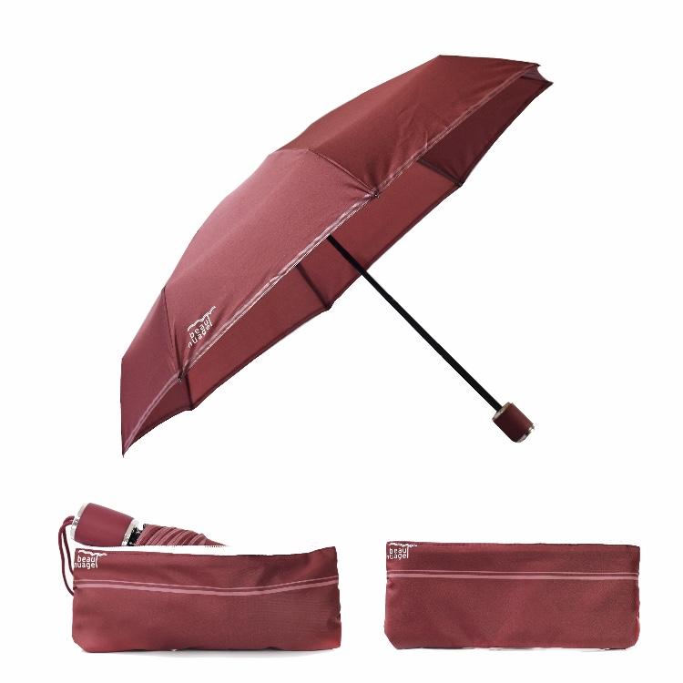 L'Automatique de Beau Nuage, le parapluie avec housse absorbante, rouge grenat
