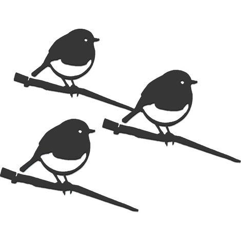 Oiseaux en métal Metalbird : pack de 3 rouges-gorges XXS