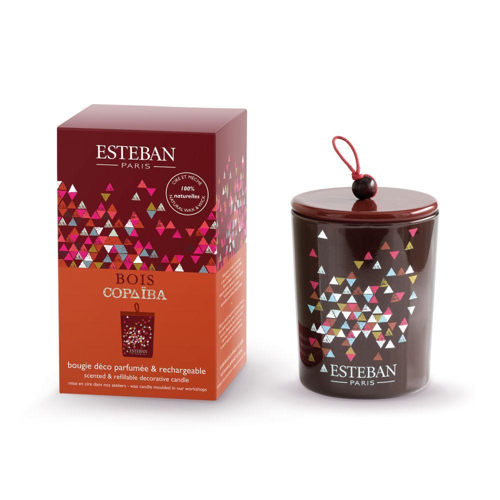 Bougie déco parfumée et rechargeable BOIS COPAÏBA  (Esteban)
