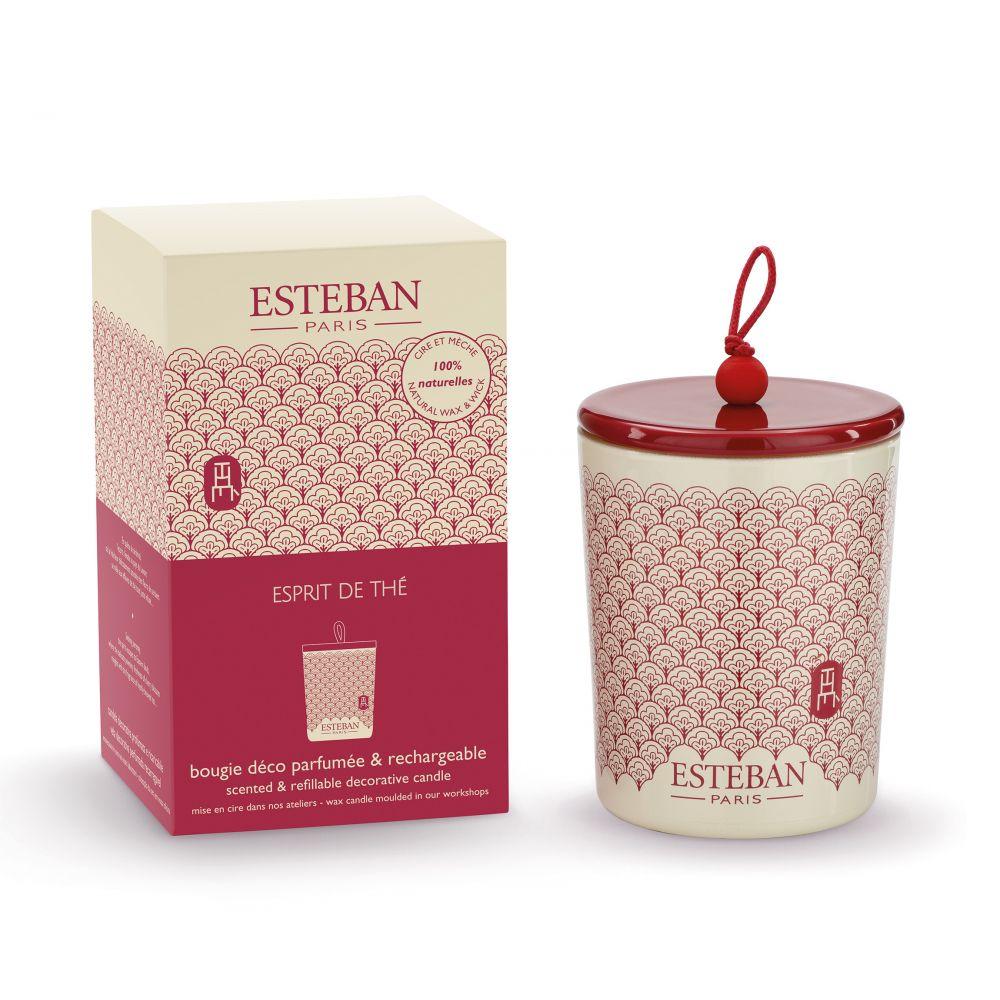 Bougie déco parfumée et rechargeable ESPRIT DE THÉ (Esteban)