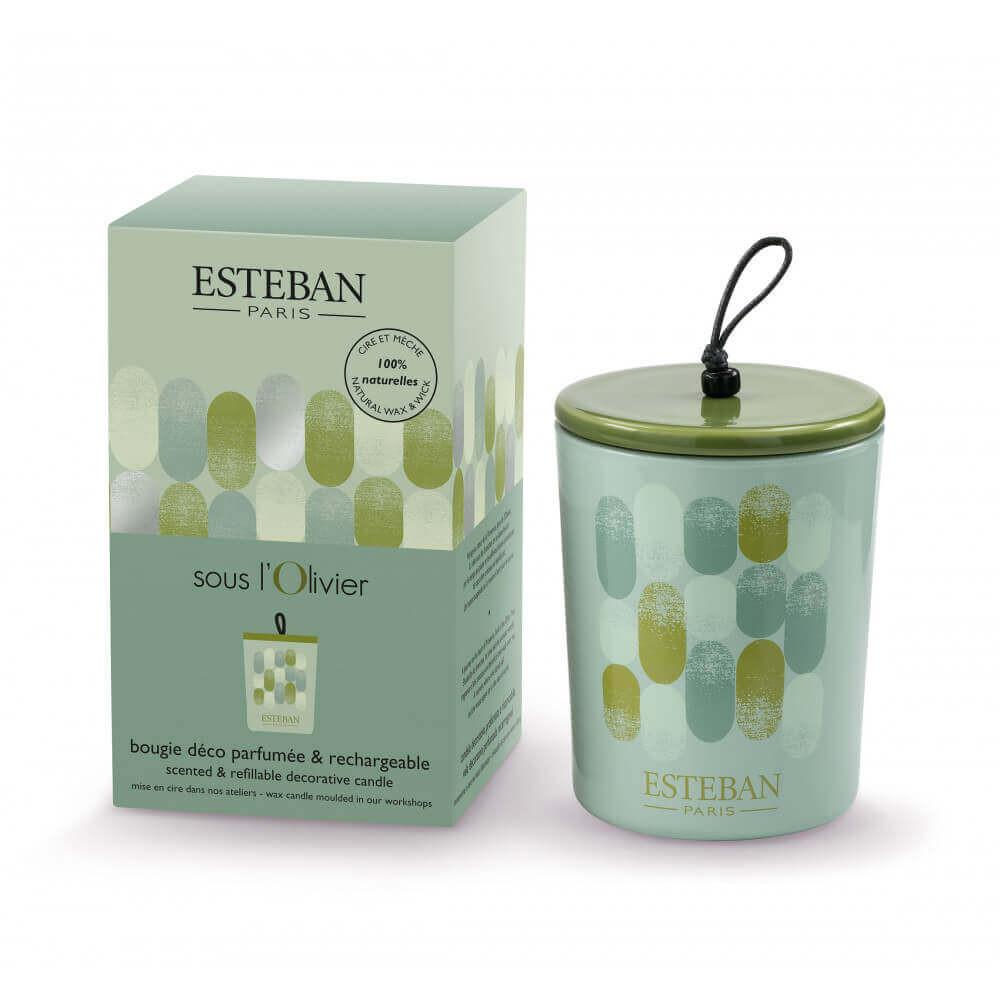 Bougie déco parfumée et rechargeable SOUS L\'OLIVIER (Esteban)