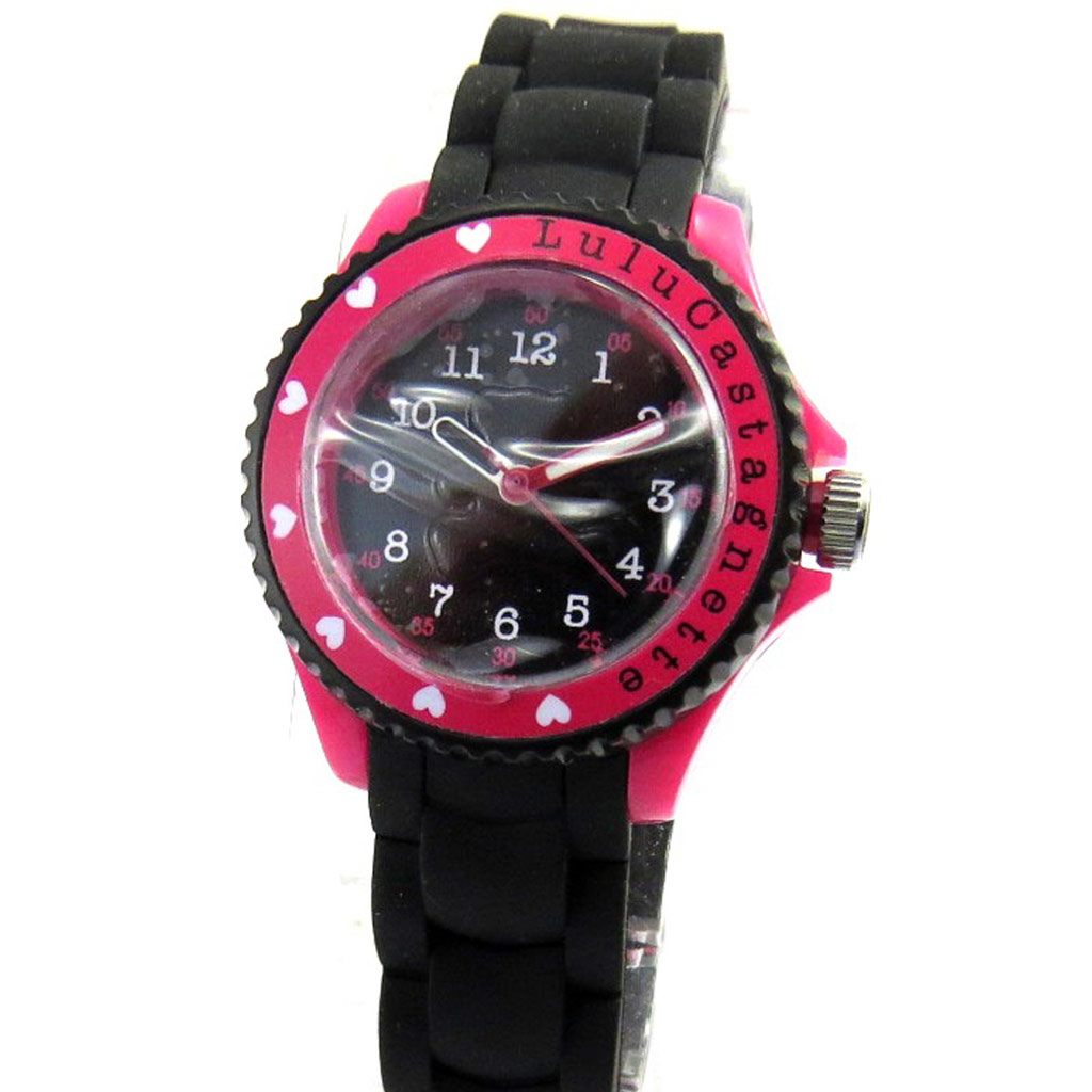 Montre silicone \'Lulu Castagnette\' noir rose - [M1224]