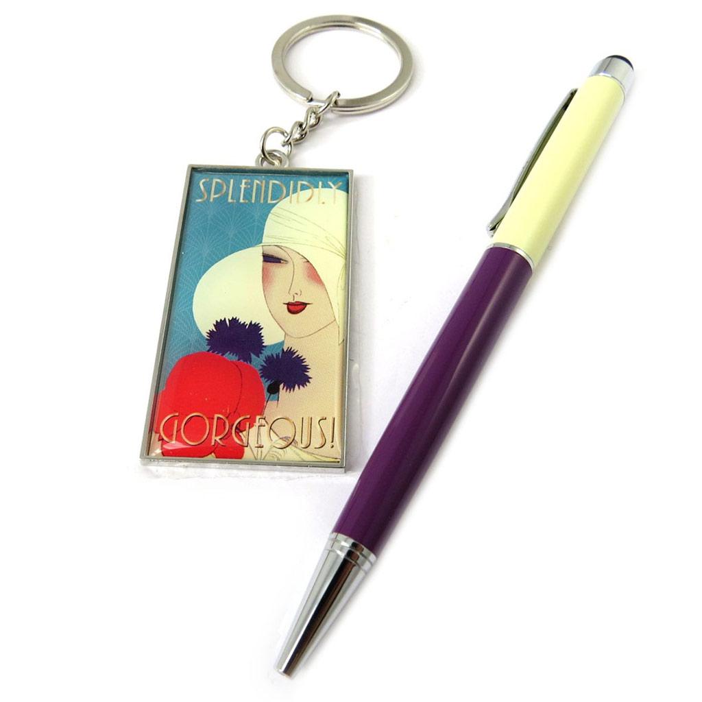 Coffret \'Belle Epoque\' violet bleu (stylo + porte-clés) - [N8514]