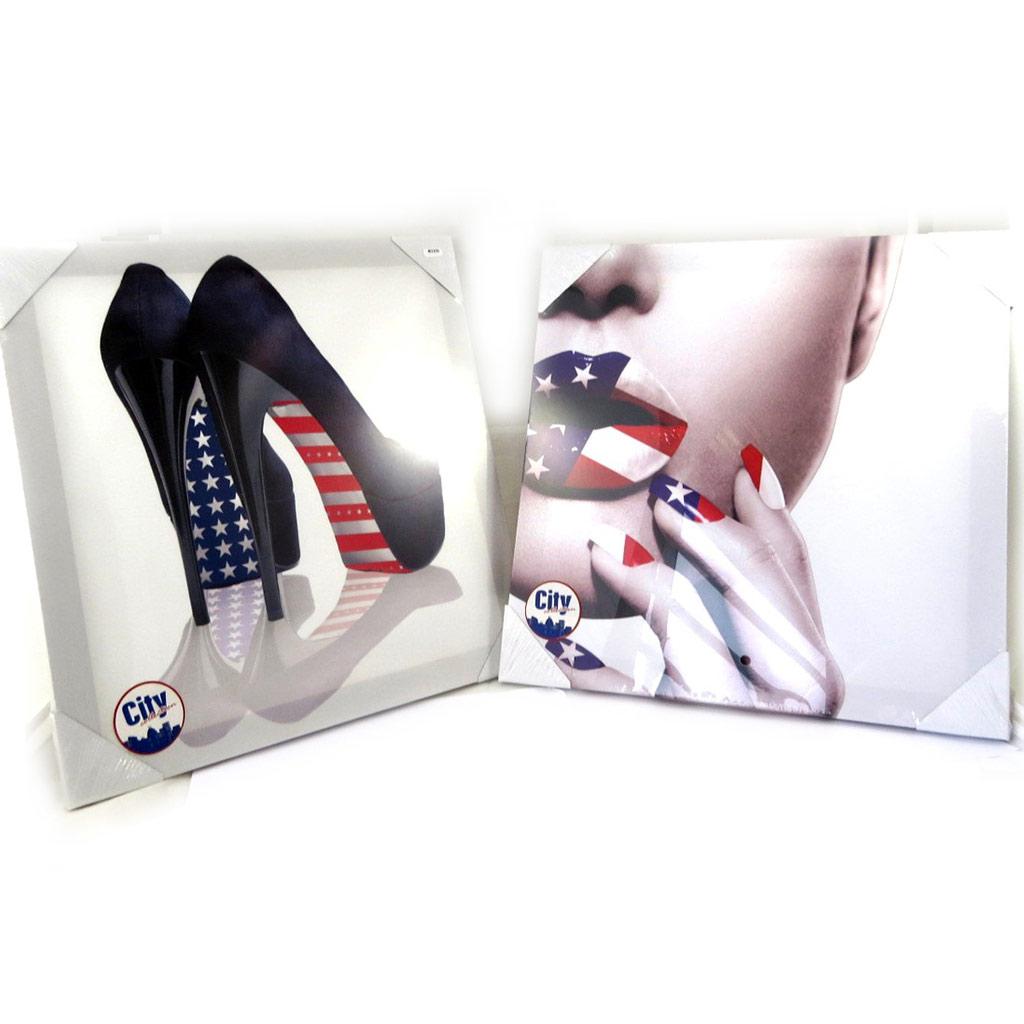 Set de 2 toiles \'America\' blanc multicolore (40x40 cm) - [M2200]