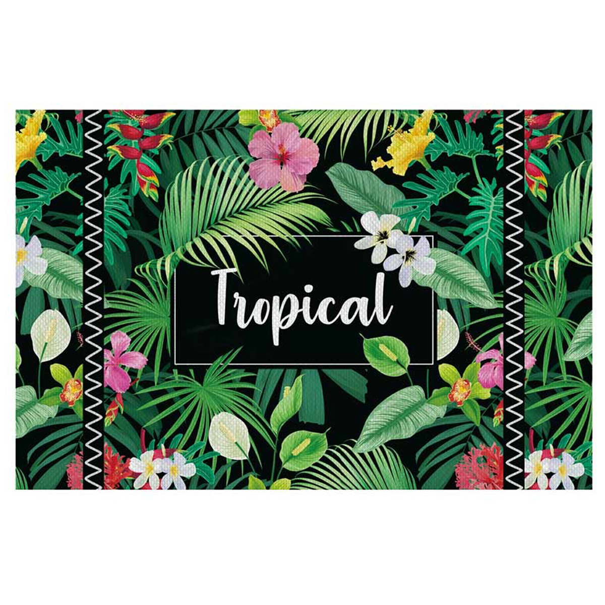 Set de table plastifié \'Tropical\' vert multicolore (Tropical) - 43x28 cm - [Q3242]