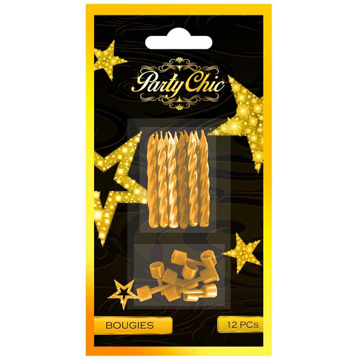 12 bougies \'Party Chic\' doré - 5 cm - [Q4123]