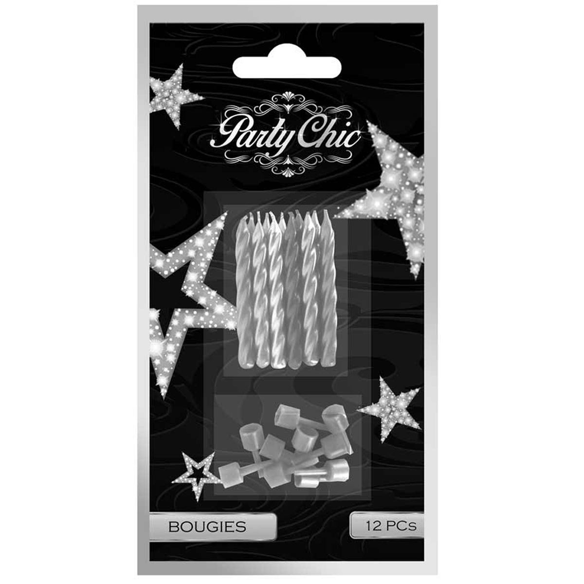 12 bougies \'Party Chic\' argenté - 5 cm - [Q4124]