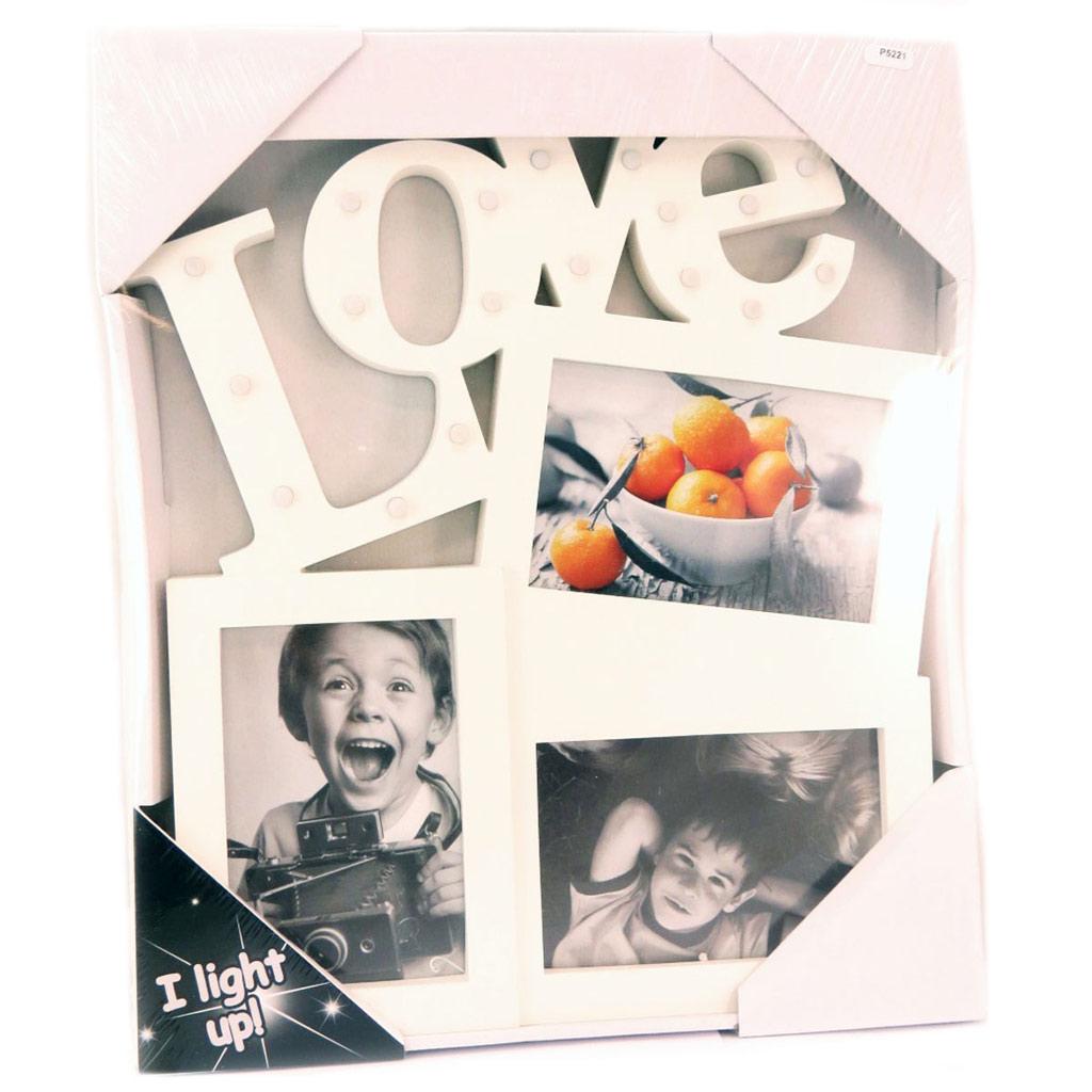 Pêle-Mêle led \'Love\' blanc - 38x33 cm - [P5221]