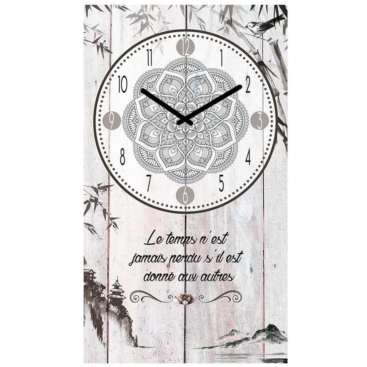 Horloge Murale \'Boho\' gris (le temps n\'est jamais perdu s\'il est donné aux autres) - 49x28 cm - [P5386]