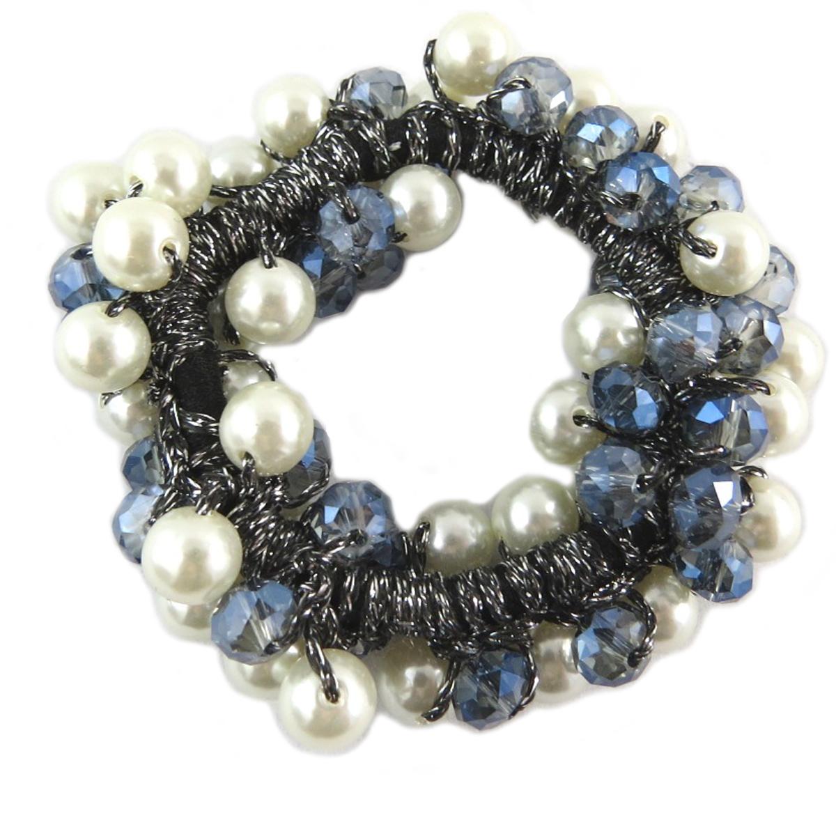 Chouchou créateur \'Sissi\' bleu ivoire (cristal) - largeur 2 cm - [Q0081]
