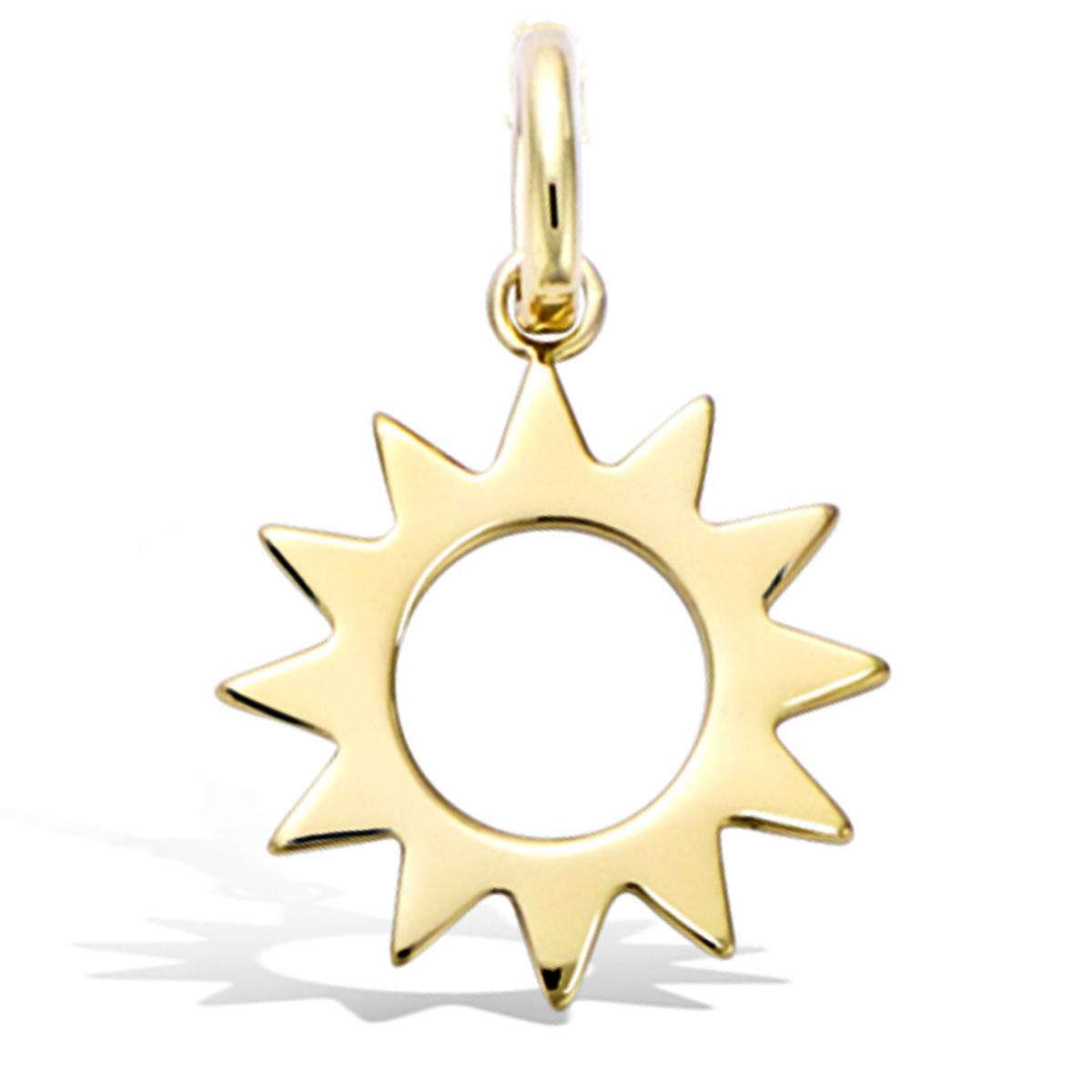 Pendentif Plaqué Or \'Soleil\' doré - 15 mm - [Q7568]