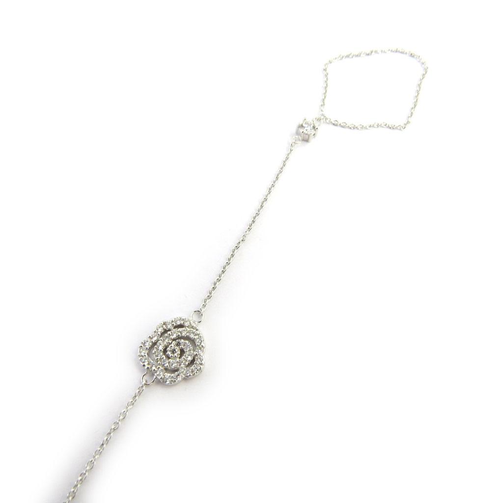 Bracelet bague argent \'Rosa Romantica\' blanc  - [M1774]